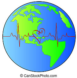 earth with red heart beat pulsing