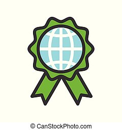 Globe or planet earth icon on green badge filled line flat design