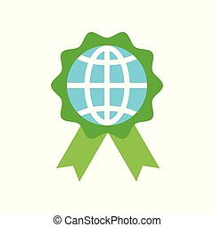 Globe or planet earth icon on green badge flat design