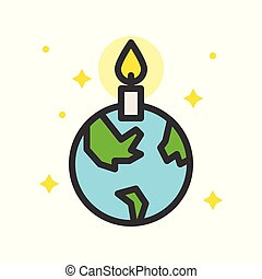 Globe or planet earth icon with candle filled line flat design, pray for world concept