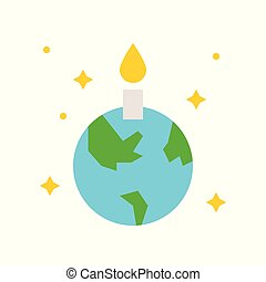 Globe or planet earth icon with candle flat design, pray for world concept