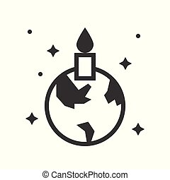 Globe or planet earth icon with candle , pray for world concept