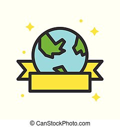 Globe or planet earth icon with ribbon filled outline flat design