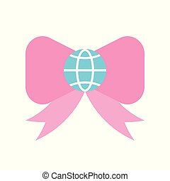 Globe or planet earth on bow tie icon, flat design