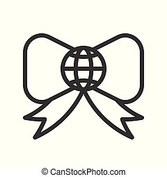 Globe or planet earth on bow tie icon