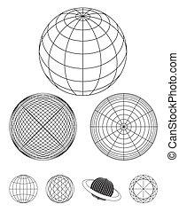Design of globe outline, vector format.