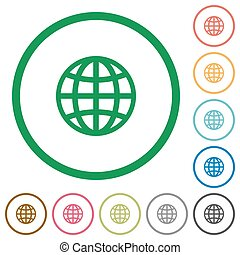 Globe outlined flat icons