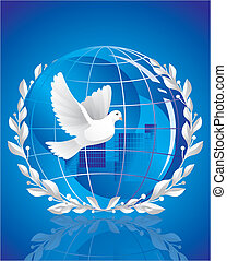 globe, paix, colombe