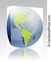 globe, paquet, illustration, amériques, boîte, carte