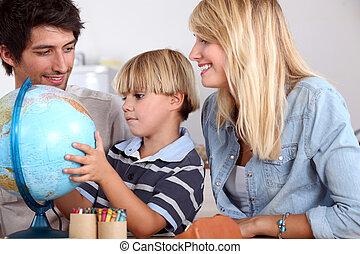 globe, parents, fils