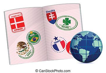 globe, paspoort, illustratie