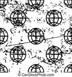Globe pattern, grunge, monochrome