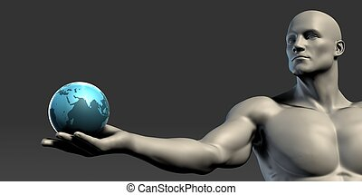 globe, paume, tenant main