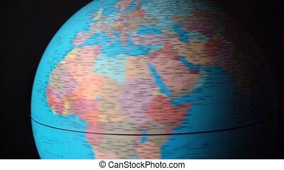 globe, pays, continents, autour de, rotation