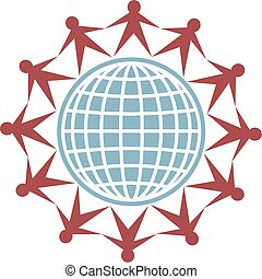 globe people - isolated icon of people connecting around the...