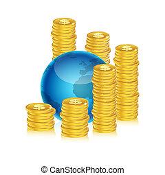 globe, pièces, dollar, illustration, fond, blanc