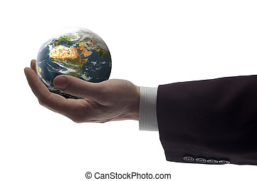 globe - business hand holding globe on white background