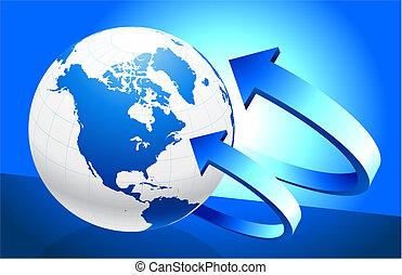 globe, pijl, achtergrond
