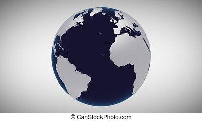 globe, planète, animation, la terre, modèle, tourne, ...