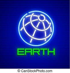 Globe planet earth neon icon symbol
