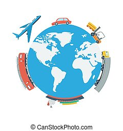 Globe Planet Logistic Concept - Vector square concept of...