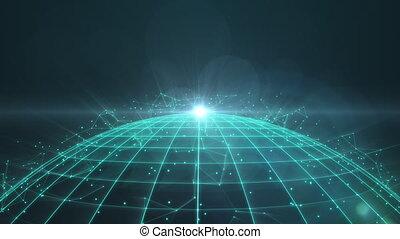 globe, plexus, tourner, réseau, wireframe