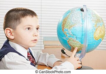 globe, pointage, écolier