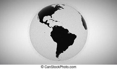 globe, points, entourer, animation, noir, clignotant, modèle...