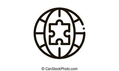 globe puzzle piece Icon Animation. black globe puzzle piece animated icon on white background