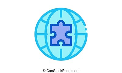 globe puzzle piece Icon Animation. color globe puzzle piece animated icon on white background