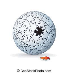 globe, puzzle, puzzle, sphere., vecteur, image, 3d