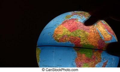 globe, radvormigen, silhouette, lichtgevend, hand