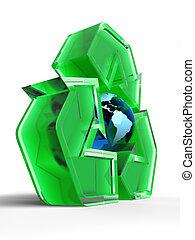 globe, recyclage, signe