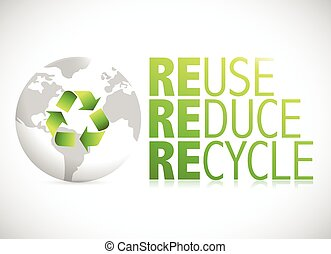 globe reduce, reuse, recycle sign illustration design over a...