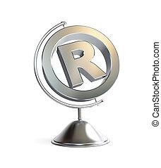 globe registered trademark sign 3d Illustrations on a white...