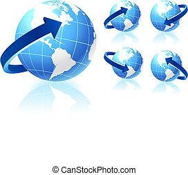 globe, richtingwijzer, set