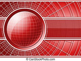globe, rode achtergrond