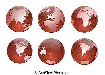 globe, rood
