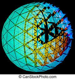globe, rooster, netwerk, illustratie, 3d