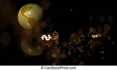 Globe rotating and currencies falling down with bubbles blowing against dark background
