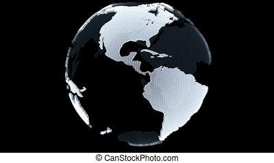 globe, rotation, boucle