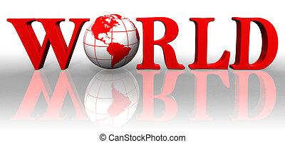 globe, rouges, mondiale, mot