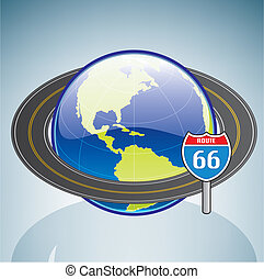 Globe & Route 66 (part of the 3D Isometric Icons Set)