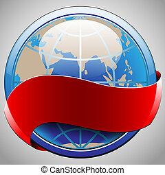 globe, ruban rouge, étiquette
