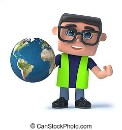 Globe, sécurité, santé, officier, tenue, La terre,  3D