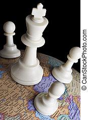globe, schaakspel, aarde, stukken