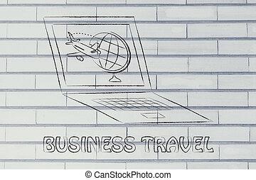 globe, scherm, computer, industry:, vliegtuig, reizen