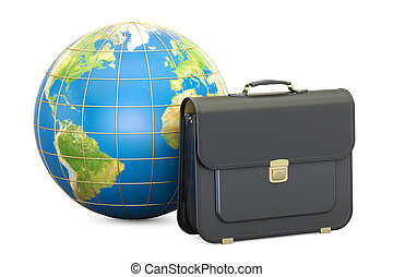globe., serviette, concept affaires, global, rendre, la terre, 3d