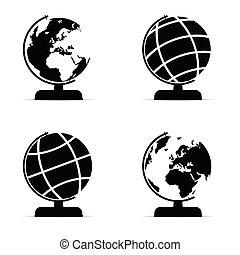 globe set in black and white color illustration