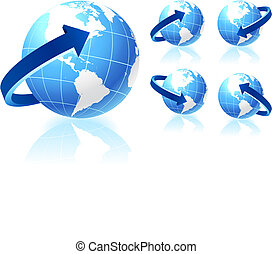 globe, set, richtingwijzer